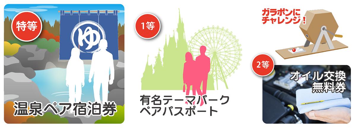 ガラポン景品-温泉ペア宿泊券-有名テーマパークペアパスポート-オイル交換無料券